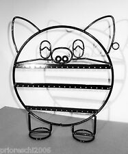 PORTA ORECCHINI PIG PORCELLINO NERO LUCIDO ESPOSITORE METALLO NEW