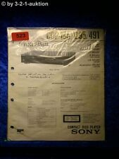 Sony Service Manual CDP 195/295/491 CD Player (#0523)