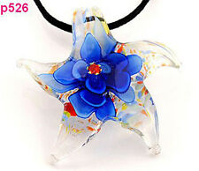 1pc Starfish blue flower Murano Lampwork Glass Pendant Necklace p526