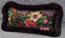 Pillow made w/ Ralph Lauren Brittany Purple Plum Floral Fabric 14x7 trim fringe