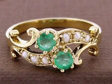 R266 Genuine 9K SOLID Yellow Gold NATURAL Emerald & Pearl Ring size O  By-pass