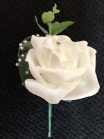 Wedding Flowers 12 Ivory or White Rose Buttonhole's with Pearl Spray