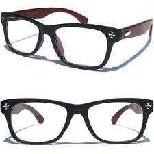Wood Frame Horn Rim Nerd Style Clear Lens Glasses Vintage Inspired Retro Classic