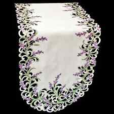 """Purple Embroidered Lavender and Green Leaf Table Runner/ Dresser Scarf 16"""" x 45"""""""
