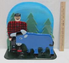 """Paul Bunyan & Babe The Blue Ox Glass Sculpture Handmade Bemidji MN Minnesota 12"""""""