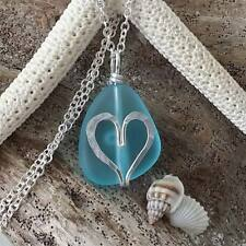 Handmade in Hawaii,  wire wrapped heart blue sea glass beach necklace, Sterling