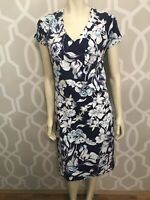 Soft Surroundings Dress Small Blue Floral Short Sleeve Knit Pullover Faux-Wrap