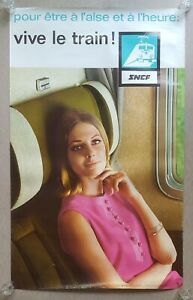 Orig. French train travel poster, franz. Eisenbahn, SNCF, Zugreise, Dewolf, 1966
