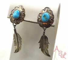 Sterling Silver Vintage 925 Navajo Dangle Feather Turquoise Earrings (7g) 551487