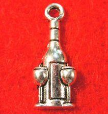 100Pcs. WHOLESALE Tibetan WINE BOTTLE & GLASSES Charms Pendants Ear Drops Q0002