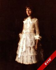 SOMBER YOUNG GIRL IN A WHITE DRESS W.M. CHASE PAINTING ART REAL CANVAS PRINT