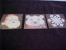 Santa Face Snowflake Polar Bear Beaded Rub on Transfer New