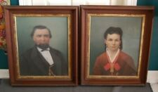 RARE 1875-1876 ALBERT CLEMENT FAHRENBERG NEW ORLEANS COUPLE PORTRAIT PAIR FRAMED