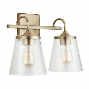 Capital Lighting 139122AD-496 15.25 Inch 2 Light Bath Vanity, Aged Brass Finish