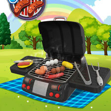 Kids BBQ Grill Pretend Play Toy Kitchen Barbecue Food Cooking Set Lights & Smoke