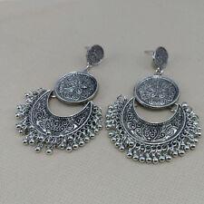 WOMEN'S Etnici nappa Coin Goccia Dangle Earrings Argento Anticato Stile Boho Gioiello Regalo