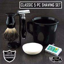 Old School Complete Shaving Kit with Brush Mug DE Safety Razor & Soap Gift set