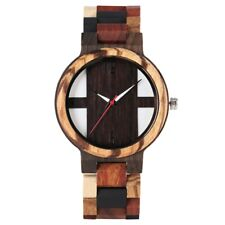 Casual Men's Watch Natural Wood Analog Quartz Wrist Watches Leather Wooden Band