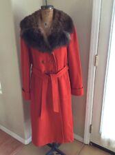 YOUTHCRAFT Vintage Orange Wool Fur Collar Button Tie Long Coat Jacket Sz 6-8