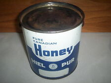 Vintage Pure Canadian Honey Can Tin Pail & Lid 8LB : Blue/White