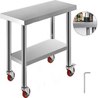 Stainless Steel Kitchen Bench 762*305mm Commercial Work Food Prep Table Wheels