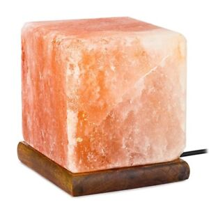 Himalayan Salt Lamp Hand Crafted Cube Shape 100% Authentic With Bulb & UK Plug