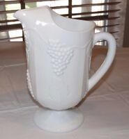 Unbranded Milk Glass Harvest Grapevine Grape Pattern Vintage Ice Lipped pitcher