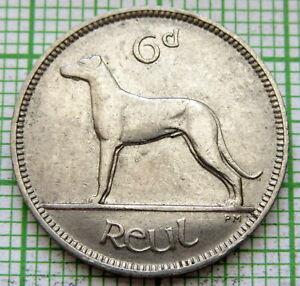 IRELAND 1934 6 PINGIN PENCE SIXPENCE, IRISH WOLFHOUND DOG, NICKEL