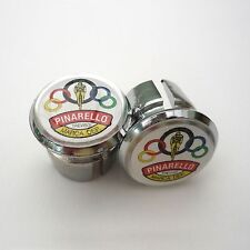 Vintage Style Pinarello Olympic Chrome Racing Bar Plugs, Caps, Repro