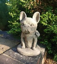 STONE GARDEN SITTING FRENCH BULLDOG / FRENCHIE DOG PUPPY ORNAMENT STATUE