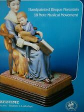 """Norman Rockwell """"Bedtime"""" Figurine Music Box 1985 Plays Brahm's Lullabye - Works"""