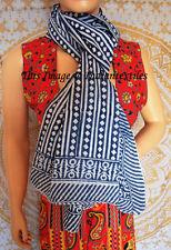 Women Long Block Print Indian Fashion Cotton Scarf Wrap Sarong Shawl Large Art