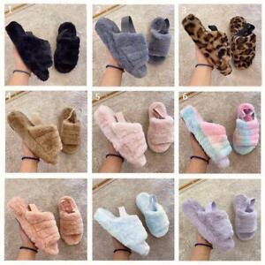 Womens Snugg Warm Fluffy Faux Fur Slippers Slides Yeah Sandals Elastic Strap UK