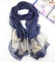New Women's Fashion Navy Blue Solid 100% Silk Thai Silk Oblong Shawl Wrap Scarf