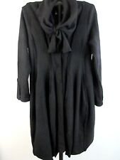 Black XL Turtle Cardigan L/S Wool Viscose Front Snap Buttons Scarf Collar HEART