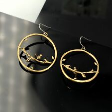 Costume Fashion Earrings Gold Cute Cat Little Bird Branche Vintage Baroque E5