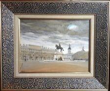Tableau Figuratif La Place Bellecour LYON Huile signée Ecole Lyonnaise