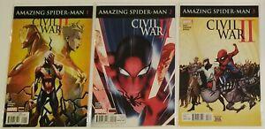 Marvel Comics AMAZING SPIDER MAN Civil War II Series #s 1-3 New Sealed FREE