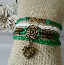 Fashion Leather Bracelet White Green Infinity Love Charm Jewelry Bronze USA