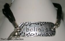 """INSPIRATIONAL ANTIQUE SILVER """"BELIEVE"""" LINK BRACELET with MULTI CORD STRANDS"""