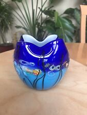 Viz Glass Inc. Genuine Hand Blown Blue Aquatic Passion Art Glass Ruffled Vase