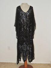 1930's Black Beaded / Sequin Flapper Dress w Silk Chiffon Sleeves / Side MED - L