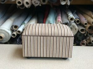 footstool / pouffe upholstered in striped  fabric