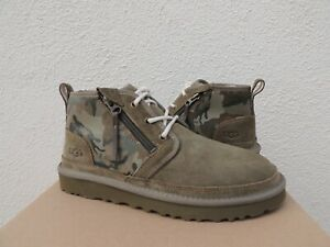 UGG MOSS GREEN NEUMEL ZIP CAMO SUEDE/ WOOL ANKLE BOOTS, MEN US 9/ EUR 42 ~NEW