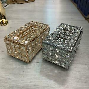 MIRROR TISSUE BOX HOLDER COVER CRUSHED DIAMOND DIAMANTE CRYSTAL EFFECT ITALIAN