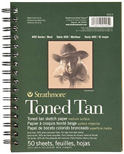"""Strathmore Spiral Toned Sketch Book 5.5""""X8.5""""-Tan 50 Sheets ."""