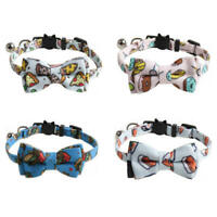 Pet Collar Cute Print Cat Bell Bowtie Adjustable Nylon Collar for Cat Dog Puppy
