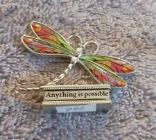 "Ganz Pewter Mini Colored Dragonfly Figurine ""Anything Is Possible"""