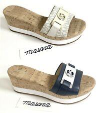Women MK Michael Kors Warren Wedge Platform Slip On Sandals Leather