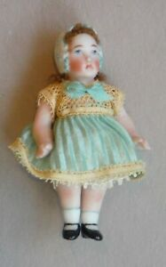 Vintage All Bisque Artist Dollhouse Little Girl Doll by Mary Gregory 1563